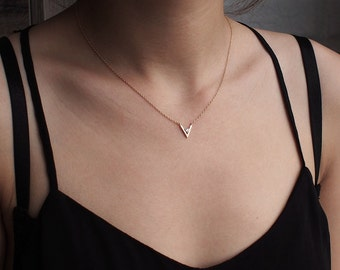 Delicate V Necklace with CZ Dot, Dainty Minimal V Necklace, Simple Geometric Layering Necklace in Sterling Silver #D56
