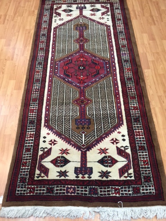 "3'6"" x 7'9"" Persian Sarab Runner Floor Runner Oriental Rug - Very Fine - Hand Made - 100% Wool - Vintage"