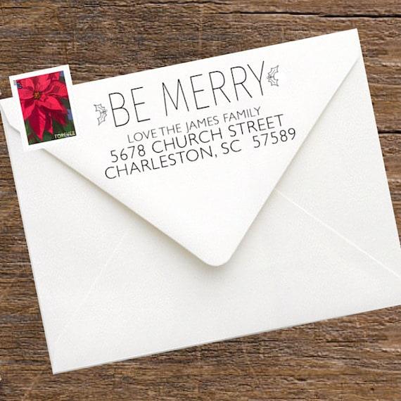 items similar to christmas return address stamp for