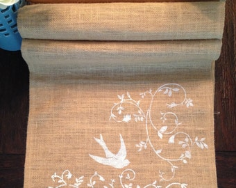 Bird Burlap Table Runner