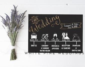 Custom Wedding Timeline, Printable timeline, Wedding Icon Timeline, Wedding event schedule, Custom timeline, gold wedding, YOU PRINT