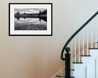 Matted Photo Print Mt. Rainier National Park Tipsoo Lake Washington Pacific Northwest Cascades Black and White Landscape Nature Photography