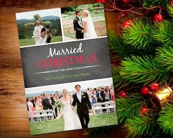 Married Photo Christmas Card, PRINTABLE, Wedding Photo Card, CUSTOM, First Christmas Card, Newlywed Christmas Card, Wedding Christmas Card