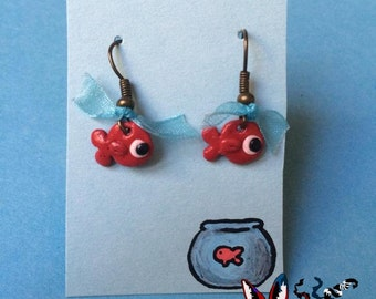 Earrings flat red fish