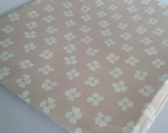 White Flowers Beige Brown Background Cotton Fabric Fat Quarter