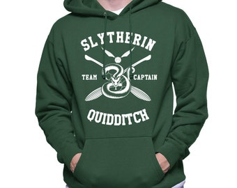 CAPTAIN - Slyth Quidditch team Captain White print printed on Forest green Hoodie