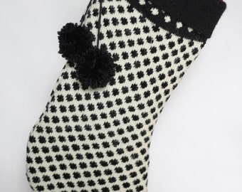 SALE 10% OFF Black and White Polka Dot Christmas Stocking (Upcycled Sweater, Rhinestone Button, Polka Dots, Lined Stocking, with Pom Poms)