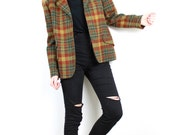 1970s Plaid Blazer Chunky Wool Jacket / Fall tones Tweed Tartan Checkered Warm Irish Wool 70s Padded shoulders Khaki Mustard Rust coat M - L