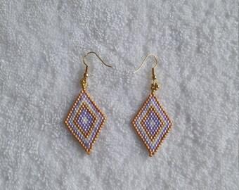 Diamond shaped Beaded Earrings/drop/Dangling Beaded Earrings