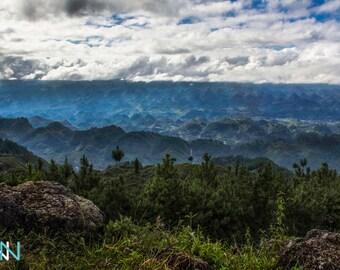Mountain Print, Landscape Photography, Guatemala Fine Art, Large Wall Haning, Mountain View Landscape Guatemala -   On the road in Guatemala