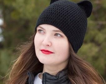 Cat beanie Knit women hat Crochet women hat  Cat ears Black cat hat Knit cat hat  Cat ears beanie  Black beanie Hat cat  Realistic cat ears