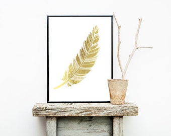 Gold Foil FEATHER Tribal Print 8x10 or 11x14  Matte Options