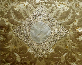Antique lace handkerchief, silk center. 1900s.