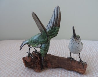 Vintage Hand Carved and Painted Wood  Hummingbirds