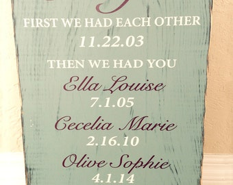 First We Had Each Other...Then We Had You Custom Names, Hand painted and distressed Family Sign