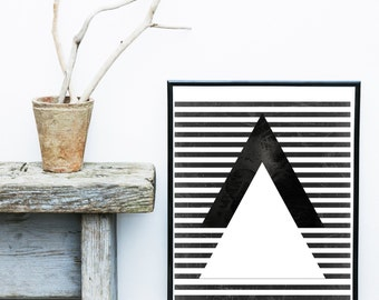 Black and White Art, Geometric Print, Geometric Art, Art Print,  Scandinavian Art, Giclee print, Triangle Print, Abstract Wall Art