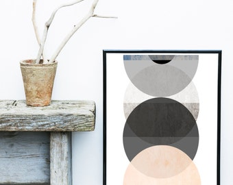 Circle Print, Art Print, Scandinavian Art, Geometric Art, Abstract Art Print, Pink And Grey, Wall Decor, Giclee print, Wall Art,  Poster