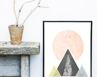 Scandinavian Art, Mid Century Modern, Art Print, Abstract Art Print, Pink And Grey Decor, Giclee print, Wall Art,  Poster, Wall Decor