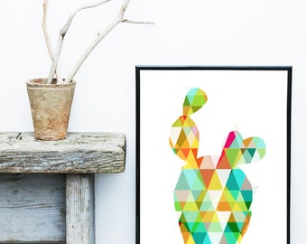 Cactus Print, Cactus Art , Geometric Print,  Art Print,  Giclee print, Modern Wall Art, Home Decor, Wall Decor, Gallery Wall