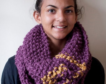 Purple and Yellow cowl scarf