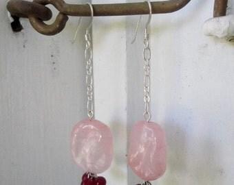 Vintage Pink Japanese Lampwork Glass and Garnet Earrings