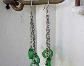 Antique Dutch Dogon Green Bead Earrings
