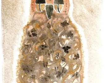 Original Watercolor Owl bronze