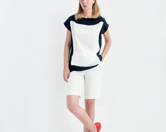 Jolie Color Block Silk Top // Top With Short Sleeves