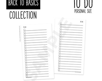 Printable Personal Planner TO DO Inserts Refills PERSONAL Size - Back to Basics Collection