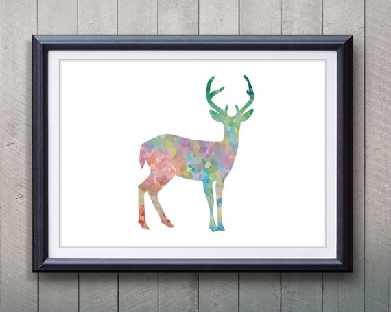 Antler stag deer print minimalist art silhouette poster for Minimalist gifts for housewarming