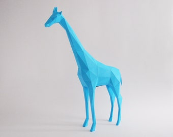 Blue Giraffe 3D puzzle paper DIY kit home decoration, folding pets