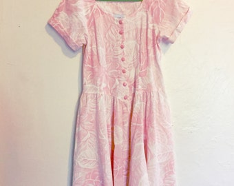 1980s Pink and White Floral Button Front Midi Dress // Size 12