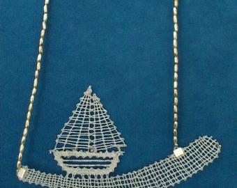 Along the coast Bobbin Lace Necklace, Bobbin Lace Pendant, Bobbin lace Unique Gift, Bobbin Lace Jewelry