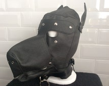 Faux Leather Puppy Play Bdsm Gimp Mask *Mature*