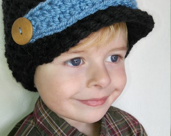 Chunky, crochet, boys' beanie with brim, newsboy, wooden button, gifts, winter