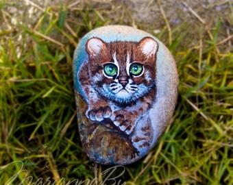 """Animal painted rock Desk decor  Sea stone painted """"Wild kitten""""."""