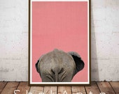 Modern Large Print, Funny Dorm Wall Art, Funny Dorm Decor, Funny Bathroom Decor, Modern Farmhouse, Butt Gift, Animal Butt Print, Elephant