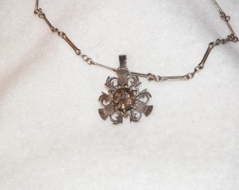 Old Vintage Sterling Charm/Necklace Combo With Smokey Topaz