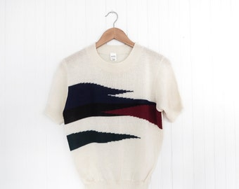 1980s knit short-sleeve blouse / abstract detail blouse / intarsia knit sweater