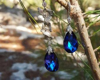 Swarovski Dangle Earrings,Blue Earrings,Purple Earrings, Rhodium plated earring,Bridal Earrings,Bridesmaid Earrings,Gift for Her,Drop Earrin
