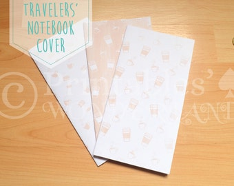 Coffee midori traveler's notebook cover inserts - TN notebook cover coffee pattern digital download
