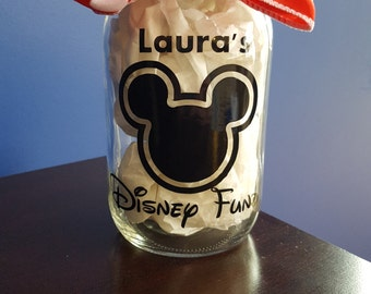 Disney Fund Mason Jar // Disney Money Jar // Disney Vacation Savings // Vacation Fund // Disney Gift // Disney // Mickey Jar // Mickey Fund