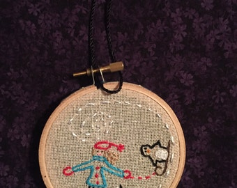Ice Skating Embroidery Hoop Ornament