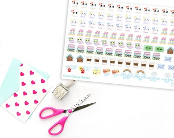 Teenies Kawaii College Life Planner Stickers for Erin Condren, Plum Planner, Inkwell Press, Filofax, Kikki K or Any Size Planners