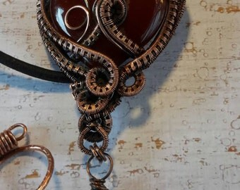 Captured Heart Pendant - Wire woven pendant with a red agate heart