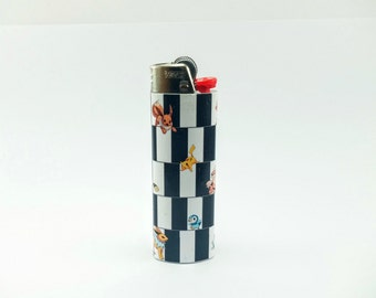 "Pokemon Playing in the Optical Illusion ""Cafe Wall"" Custom Lighter"