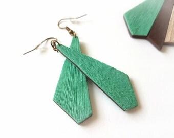 Mint green earrings, Geometric dangle earrings, Boho chic earrings, Cute earrings, Simple earrings, Everyday earrings, Green Jewelry
