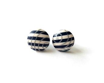 Nautical earrings - Beach earrings - Polymer clay studs - Summer earrings - Striped earrings small - Nickel free stud earrings - Navy  blue