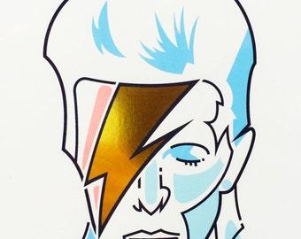 Ziggy Stardust Gold Foil Print