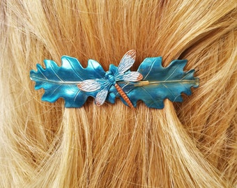 Dragonfly Hair Barrette, Teal, French Barrette